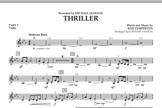 Johnnie Vinson Thriller - Pt.3 - Violin sheet music preview music notes and score for Concert Band including 1 page(s)