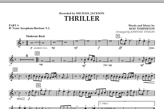 Johnnie Vinson Thriller - Pt.4 - Bb Tenor Sax/Bar. T.C. sheet music preview music notes and score for Concert Band including 1 page(s)