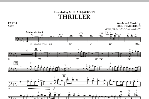 Johnnie Vinson Thriller - Pt.4 - Cello sheet music preview music notes and score for Concert Band including 1 page(s)