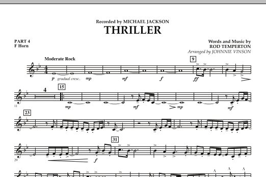 Johnnie Vinson Thriller - Pt.4 - F Horn sheet music preview music notes and score for Concert Band including 1 page(s)