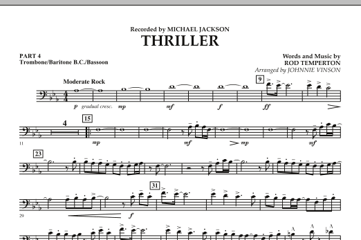 Johnnie Vinson Thriller - Pt.4 - Trombone/Bar. B.C./Bsn. sheet music preview music notes and score for Concert Band including 1 page(s)