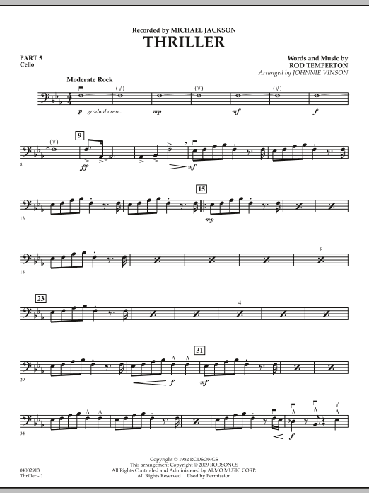 Johnnie Vinson Thriller - Pt.5 - Cello sheet music preview music notes and score for Concert Band including 2 page(s)