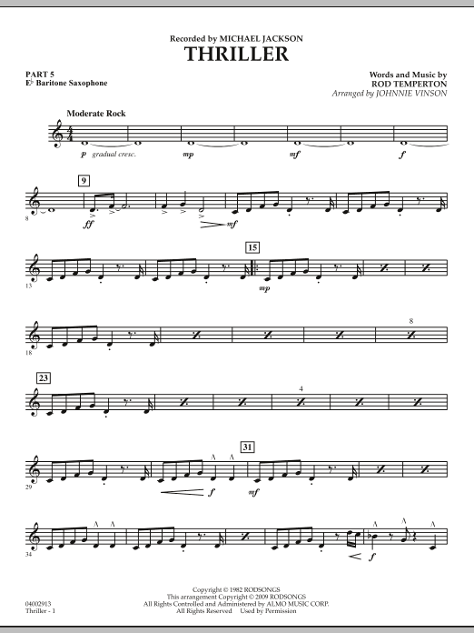 Johnnie Vinson Thriller - Pt.5 - Eb Baritone Saxophone sheet music preview music notes and score for Concert Band including 2 page(s)