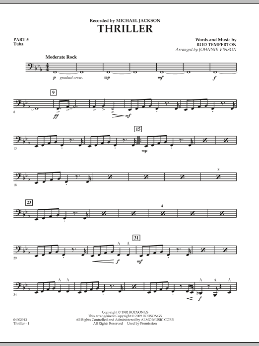 Johnnie Vinson Thriller - Pt.5 - Tuba sheet music preview music notes and score for Concert Band including 2 page(s)