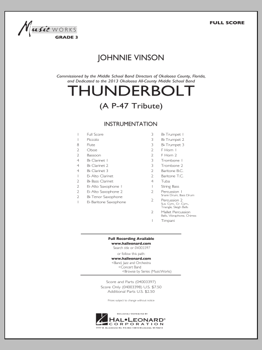 Johnnie Vinson Thunderbolt (A P-47 Tribute) - Conductor Score (Full Score) sheet music preview music notes and score for Concert Band including 24 page(s)