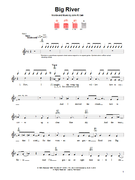 Johnny Cash Big River sheet music preview music notes and score for Guitar with strumming patterns including 2 page(s)