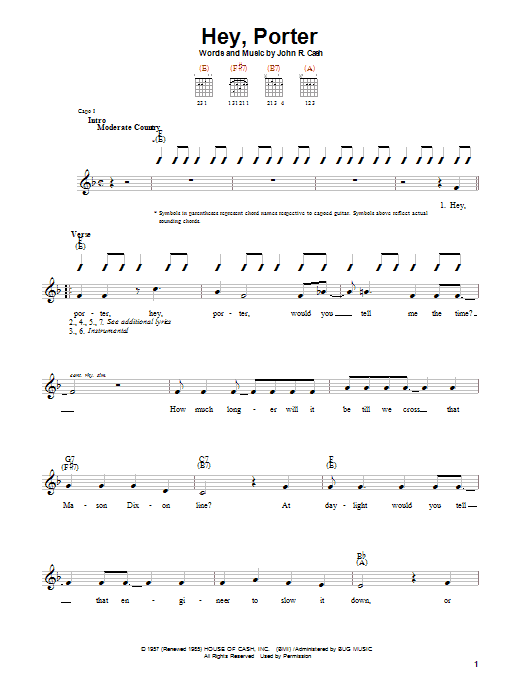Johnny Cash Hey, Porter sheet music preview music notes and score for Guitar with strumming patterns including 2 page(s)