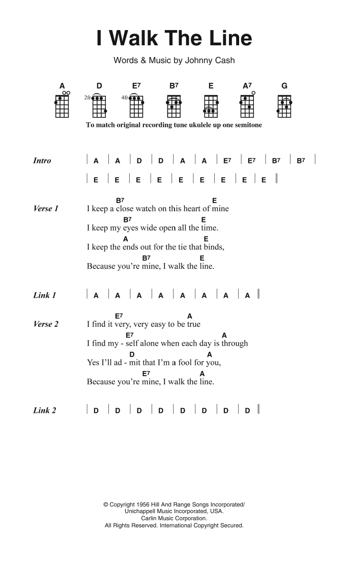 Johnny Cash I Walk The Line sheet music preview music notes and score for Piano, Vocal & Guitar (Right-Hand Melody) including 2 page(s)