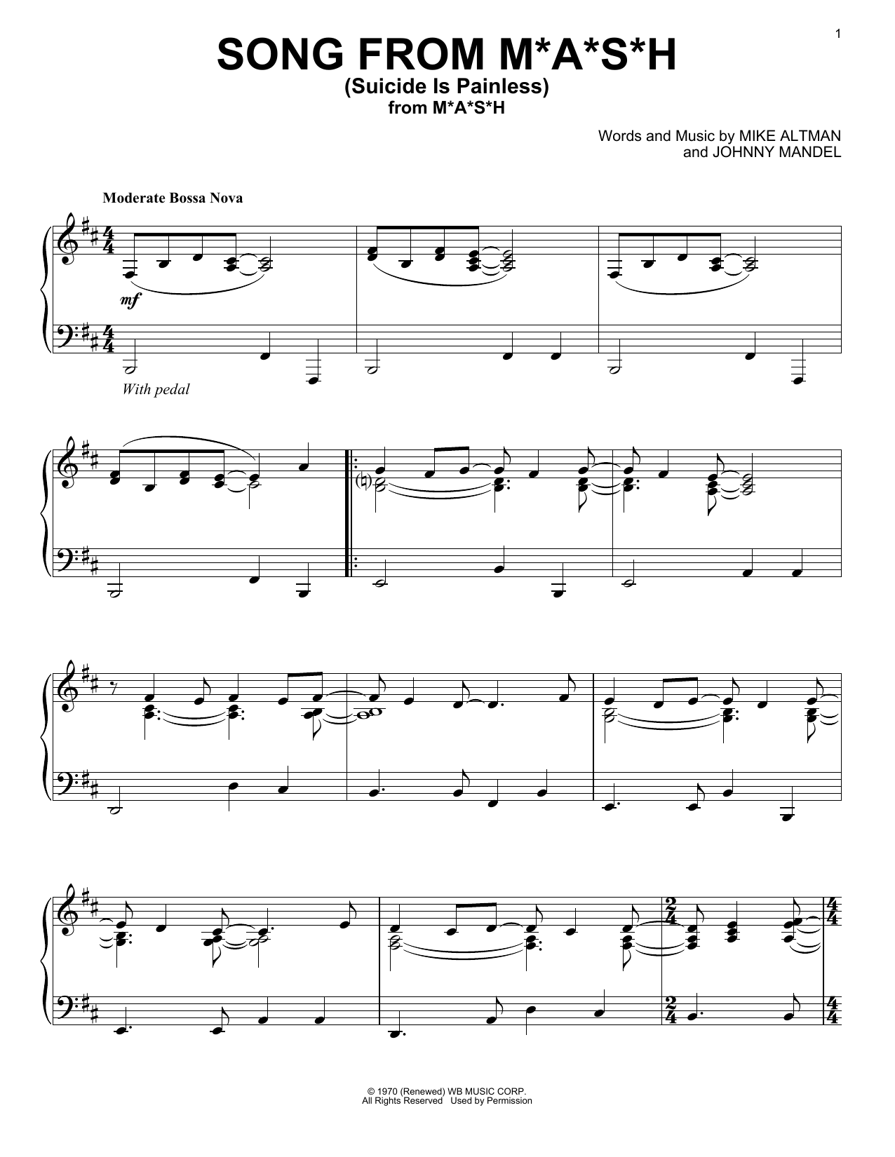 Download Johnny Mandel 'Song From M*A*S*H (Suicide Is Painless)' Digital Sheet Music Notes & Chords and start playing in minutes