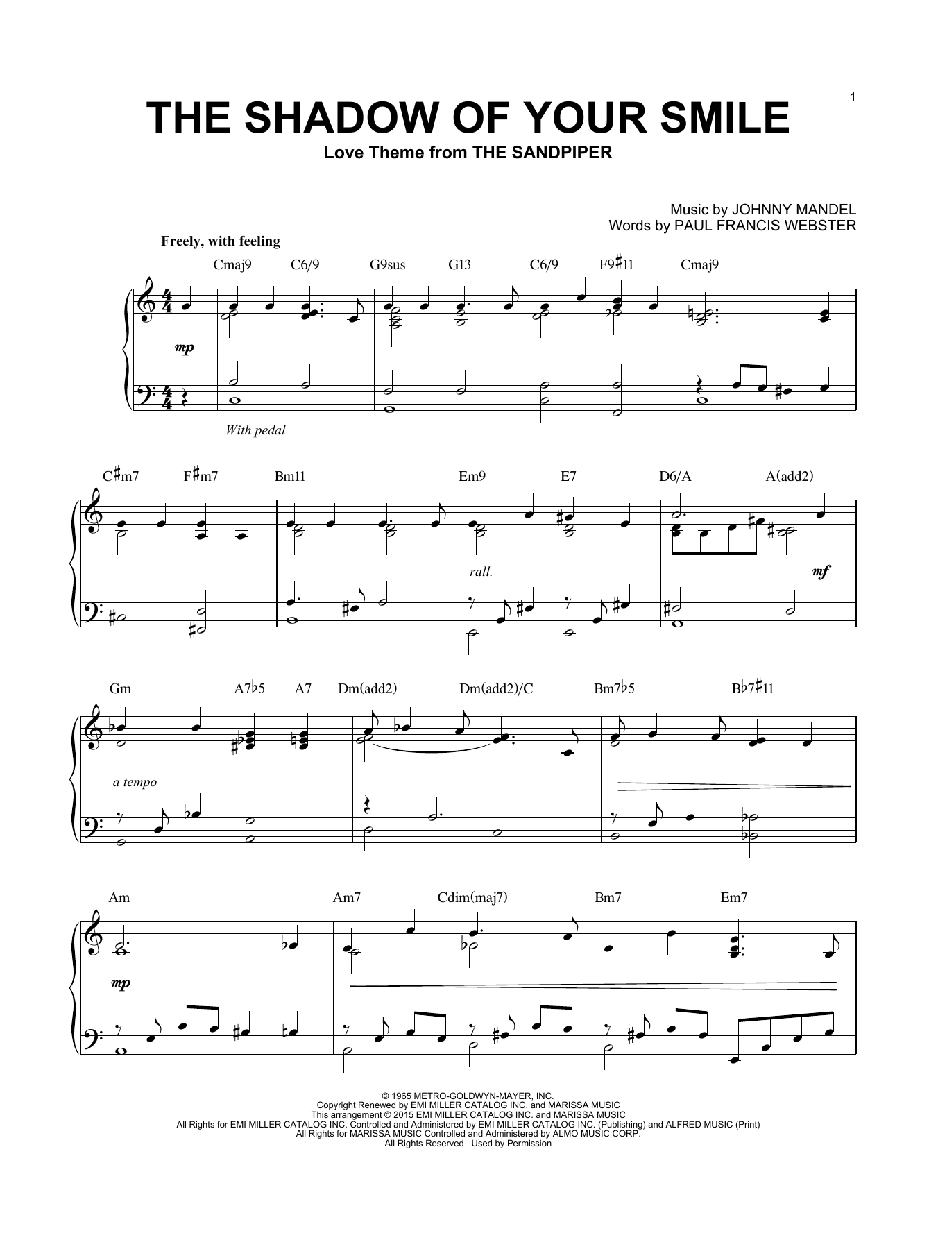 Johnny Mandel The Shadow Of Your Smile sheet music notes and chords
