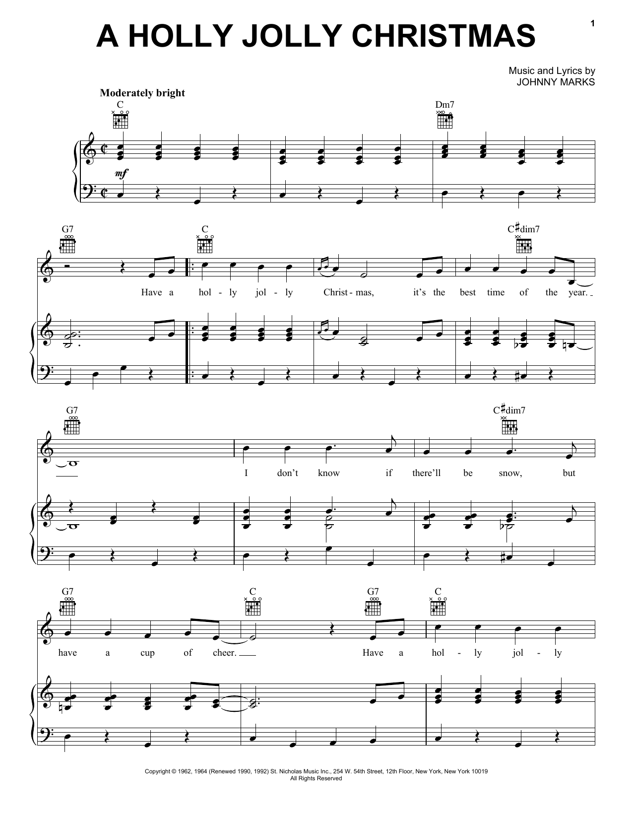 Johnny Marks A Holly Jolly Christmas sheet music notes and chords