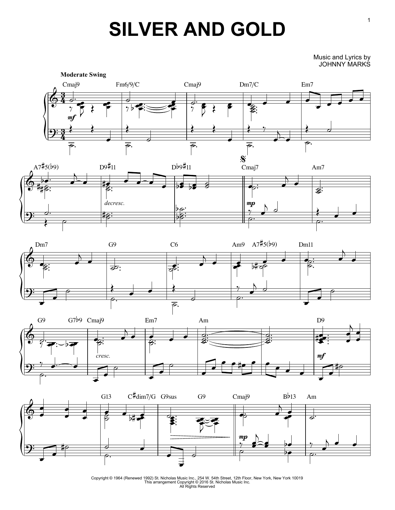 Download Johnny Marks 'Silver And Gold' Digital Sheet Music Notes & Chords and start playing in minutes