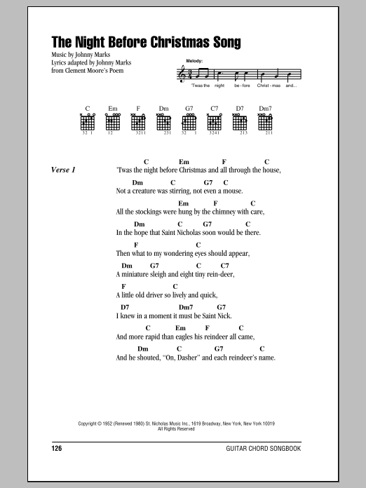 Johnny Marks The Night Before Christmas Song sheet music notes and chords