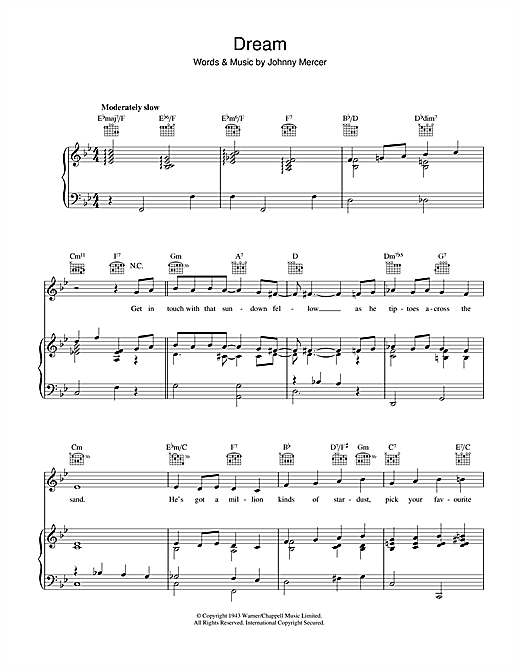 Download Johnny Mercer 'Dream' Digital Sheet Music Notes & Chords and start playing in minutes