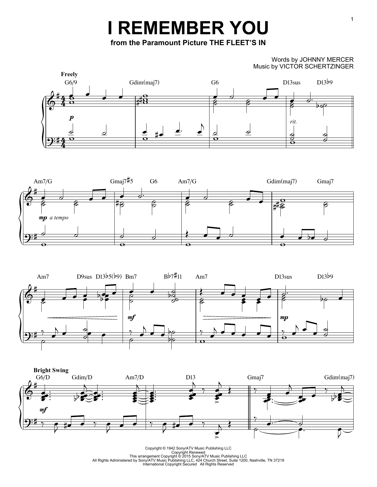 Download Johnny Mercer 'I Remember You' Digital Sheet Music Notes & Chords and start playing in minutes