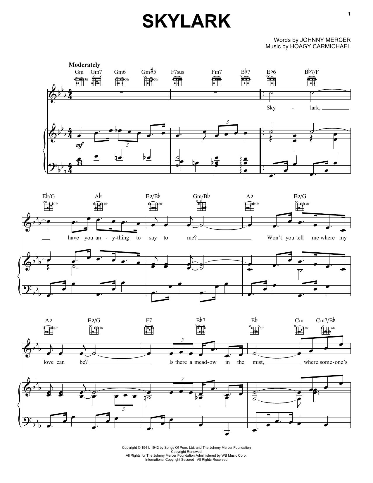 Johnny Mercer Skylark sheet music notes and chords