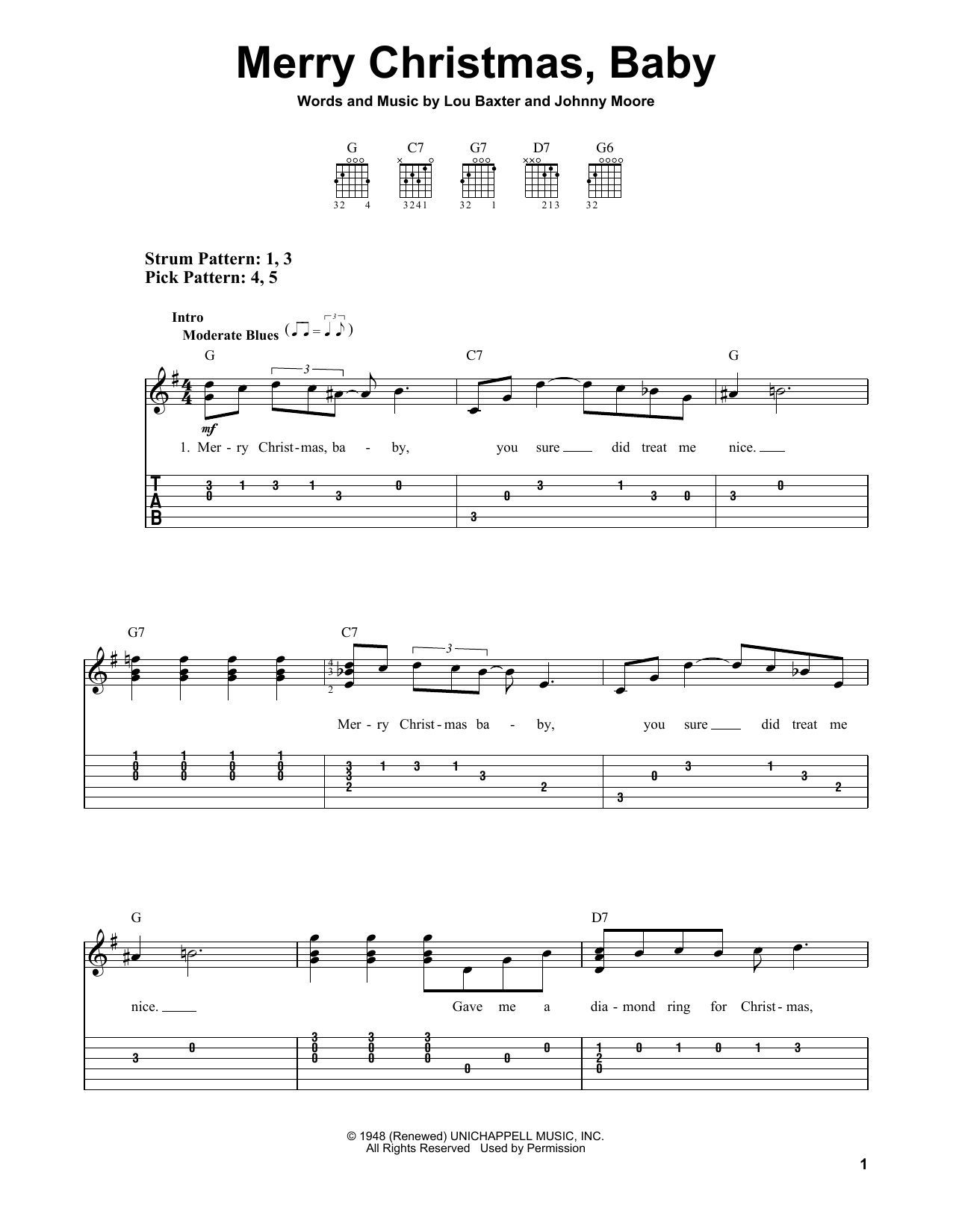 Johnny Moore Merry Christmas, Baby sheet music preview music notes and score for Easy Guitar Tab including 3 page(s)