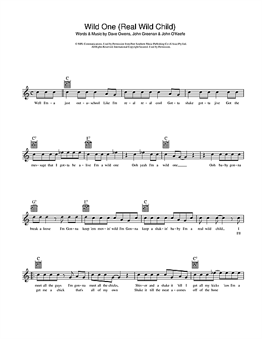 Johnny O'Keefe Real Wild Child (Wild One) sheet music preview music notes and score for Melody Line, Lyrics & Chords including 2 page(s)