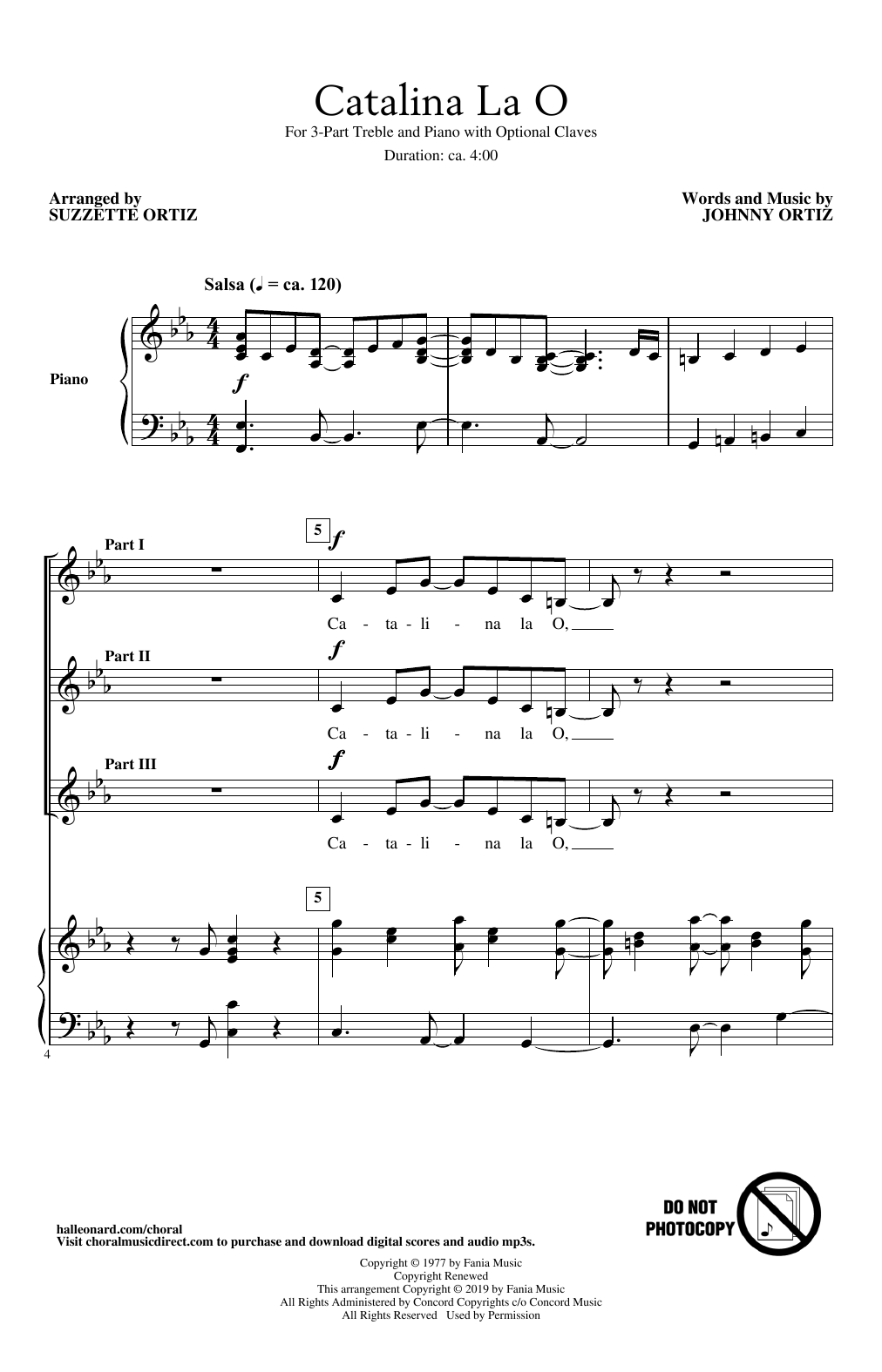 Download Johnny Ortiz 'Catalina La O (arr. Suzzette Ortiz)' Digital Sheet Music Notes & Chords and start playing in minutes