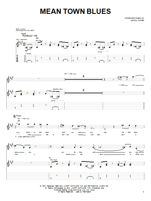 Johnny Winter Mean Town Blues sheet music notes and chords