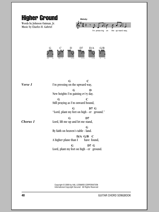 Johnson Oatman Jr. Higher Ground sheet music preview music notes and score for Piano including 3 page(s)