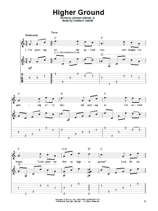 Download Johnson Oatman Jr. 'Higher Ground' Digital Sheet Music Notes & Chords and start playing in minutes
