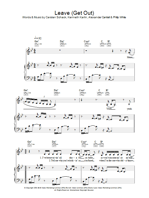 JoJo Leave (Get Out) sheet music preview music notes and score for Piano, Vocal & Guitar (Right-Hand Melody) including 7 page(s)