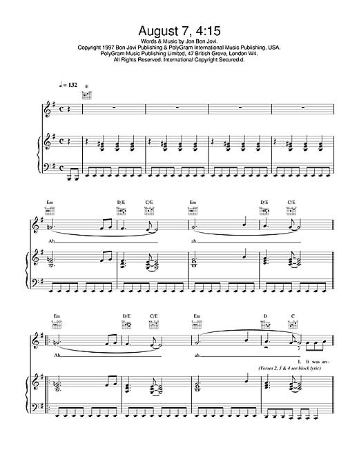 Jon Bon Jovi August 7, 4:15 sheet music notes and chords