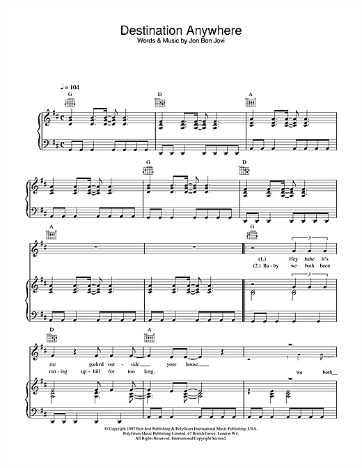 Jon Bon Jovi Destination Anywhere sheet music notes and chords