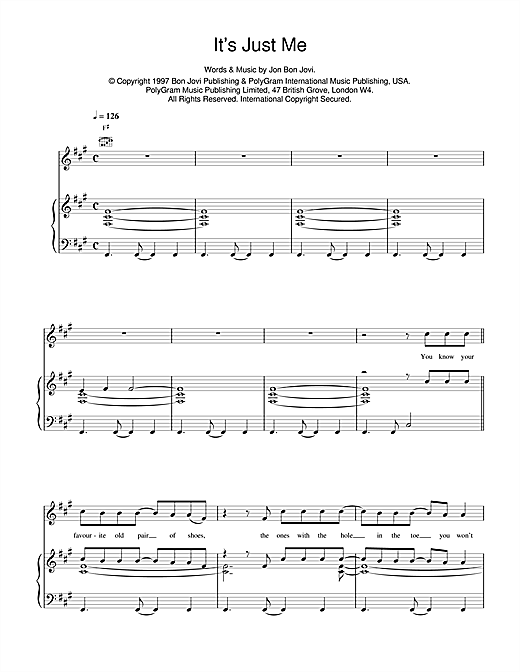 Jon Bon Jovi It's Just Me sheet music notes and chords