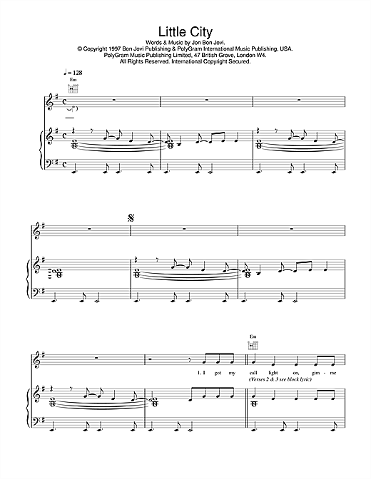 Jon Bon Jovi Little City sheet music notes and chords