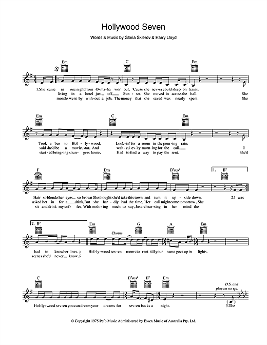Jon English Hollywood Seven sheet music preview music notes and score for Melody Line, Lyrics & Chords including 2 page(s)