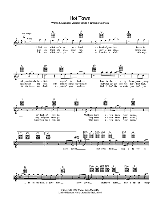 Jon English Hot Town sheet music preview music notes and score for Melody Line, Lyrics & Chords including 2 page(s)