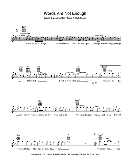 Jon English Words Are Not Enough sheet music preview music notes and score for Melody Line, Lyrics & Chords including 2 page(s)