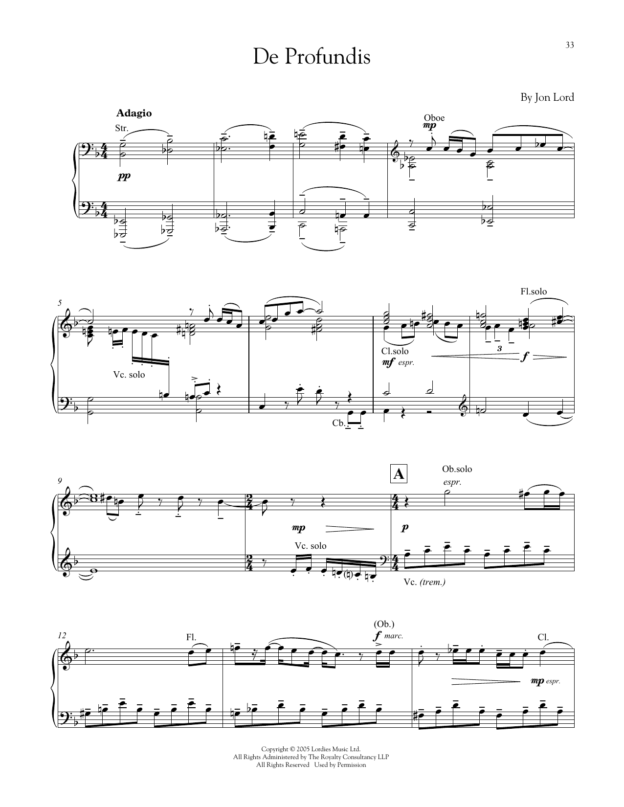 Download Jon Lord 'De Profundis' Digital Sheet Music Notes & Chords and start playing in minutes