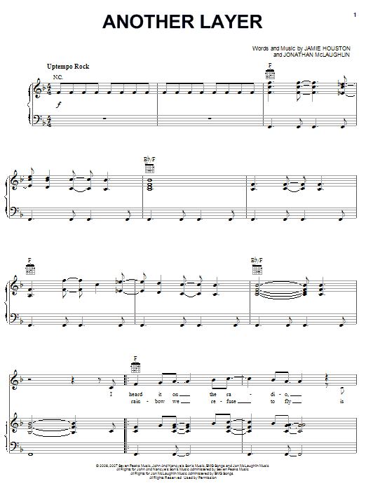 Jon McLaughlin Another Layer sheet music preview music notes and score for Piano, Vocal & Guitar (Right-Hand Melody) including 7 page(s)