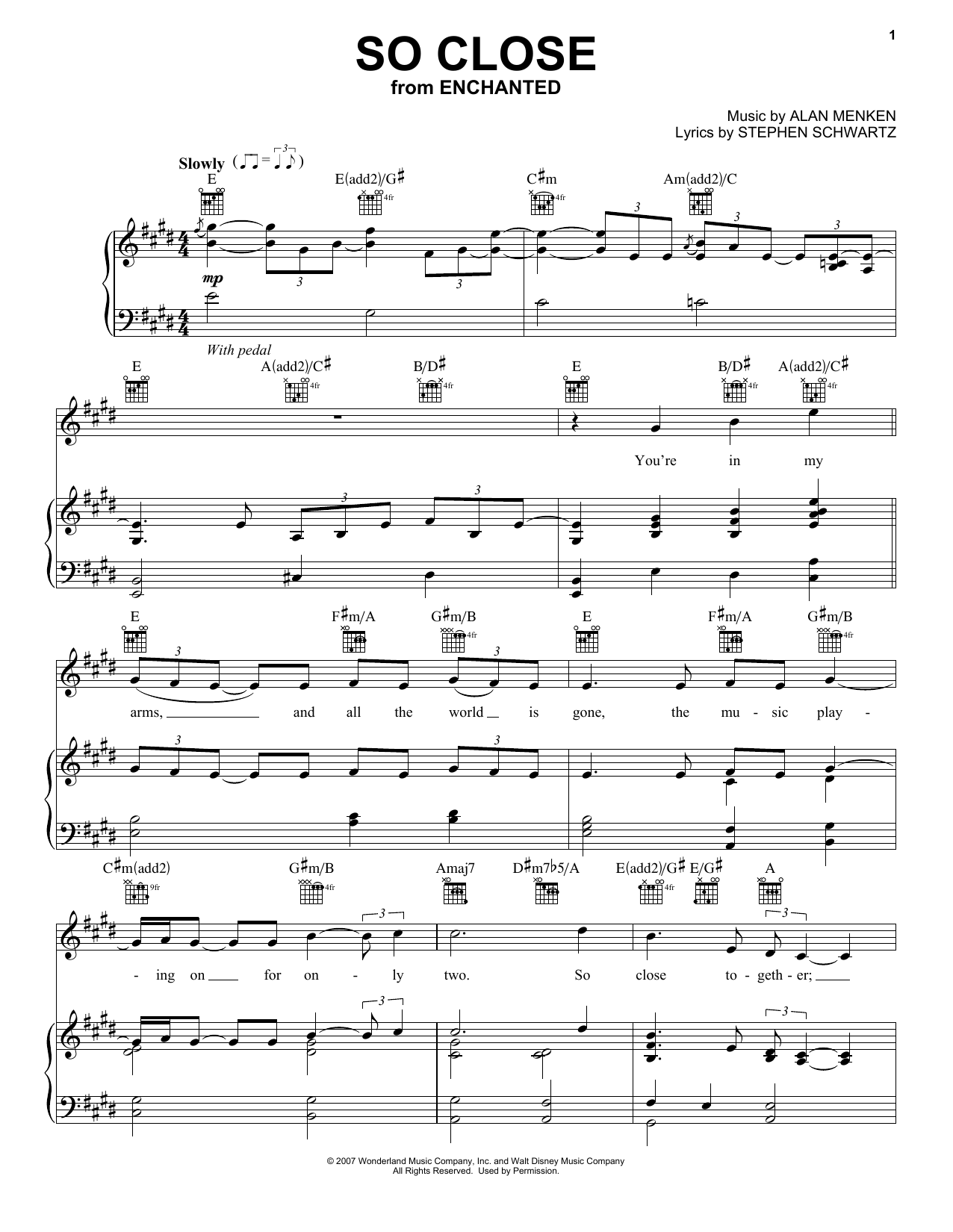 Jon McLaughlin So Close sheet music preview music notes and score for Piano (Big Notes) including 5 page(s)