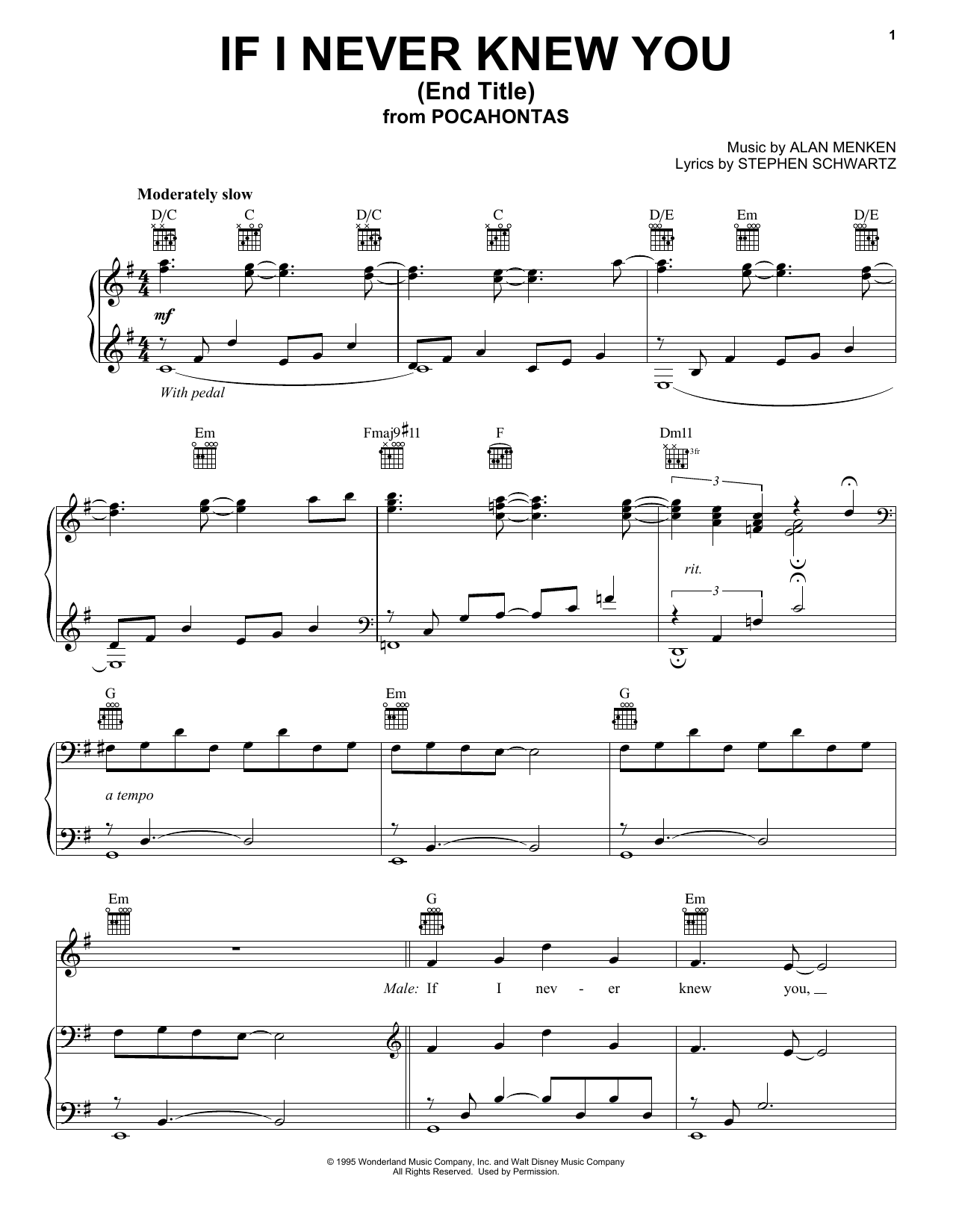 Jon Secada and Shanice If I Never Knew You (Love Theme from Pocahontas) sheet music preview music notes and score for Piano, Vocal & Guitar (Right-Hand Melody) including 9 page(s)