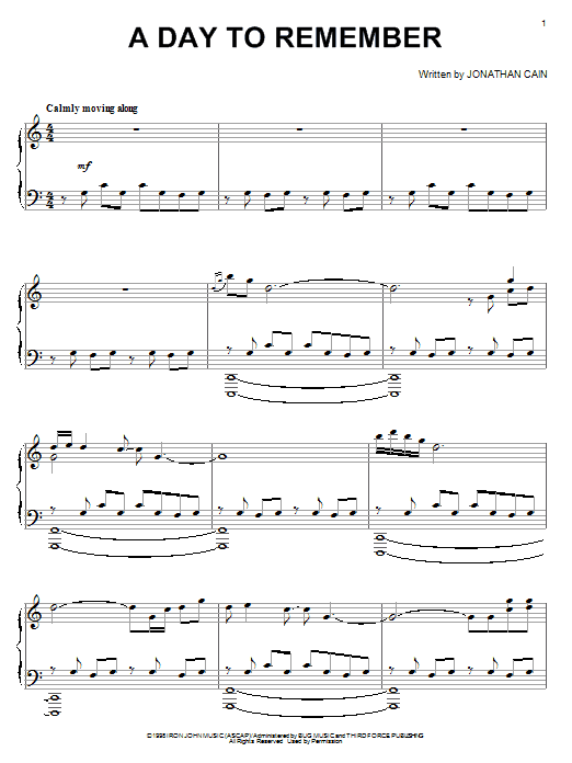 Download Jonathan Cain 'A Day To Remember' Digital Sheet Music Notes & Chords and start playing in minutes