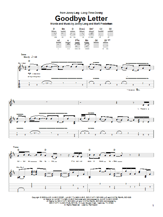 Jonny Lang Goodbye Letter sheet music preview music notes and score for Guitar Tab including 11 page(s)