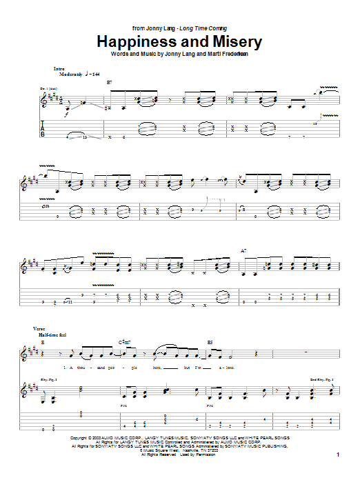 Jonny Lang Happiness And Misery sheet music preview music notes and score for Guitar Tab including 11 page(s)