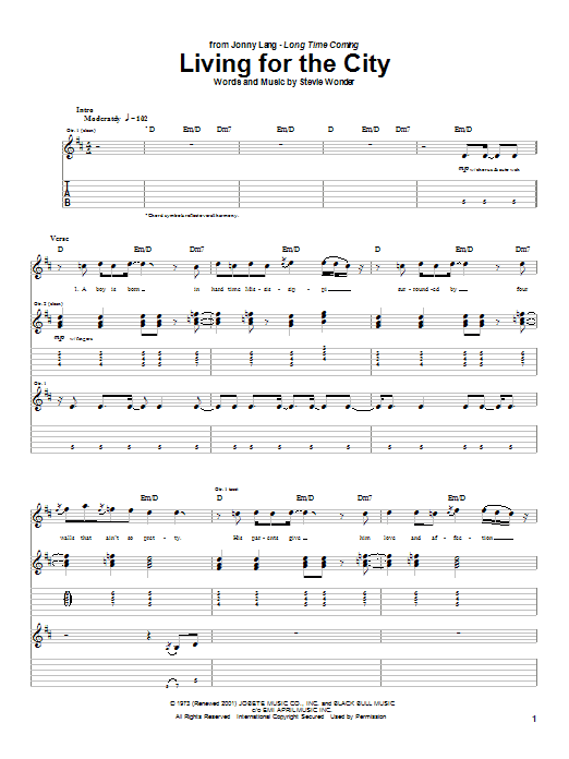Jonny Lang Living For The City sheet music preview music notes and score for Guitar Tab including 11 page(s)