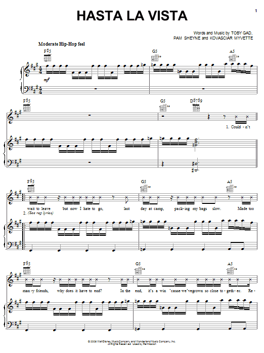 Jordan Francis Hasta La Vista sheet music preview music notes and score for Piano, Vocal & Guitar (Right-Hand Melody) including 5 page(s)