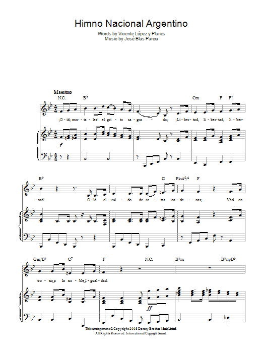 Jose Blas Parera Himno Nacional Argentino (Argentinian National Anthem) sheet music preview music notes and score for Piano, Vocal & Guitar (Right-Hand Melody) including 4 page(s)