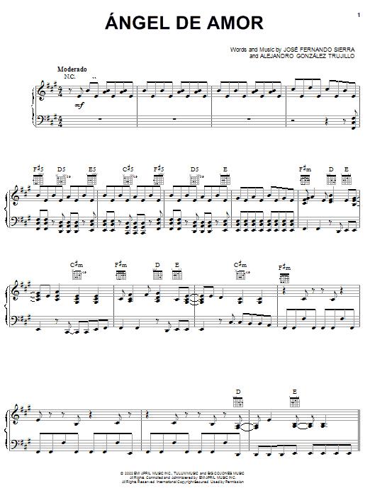 Jose Fernando Sierra Angel De Amor sheet music notes and chords