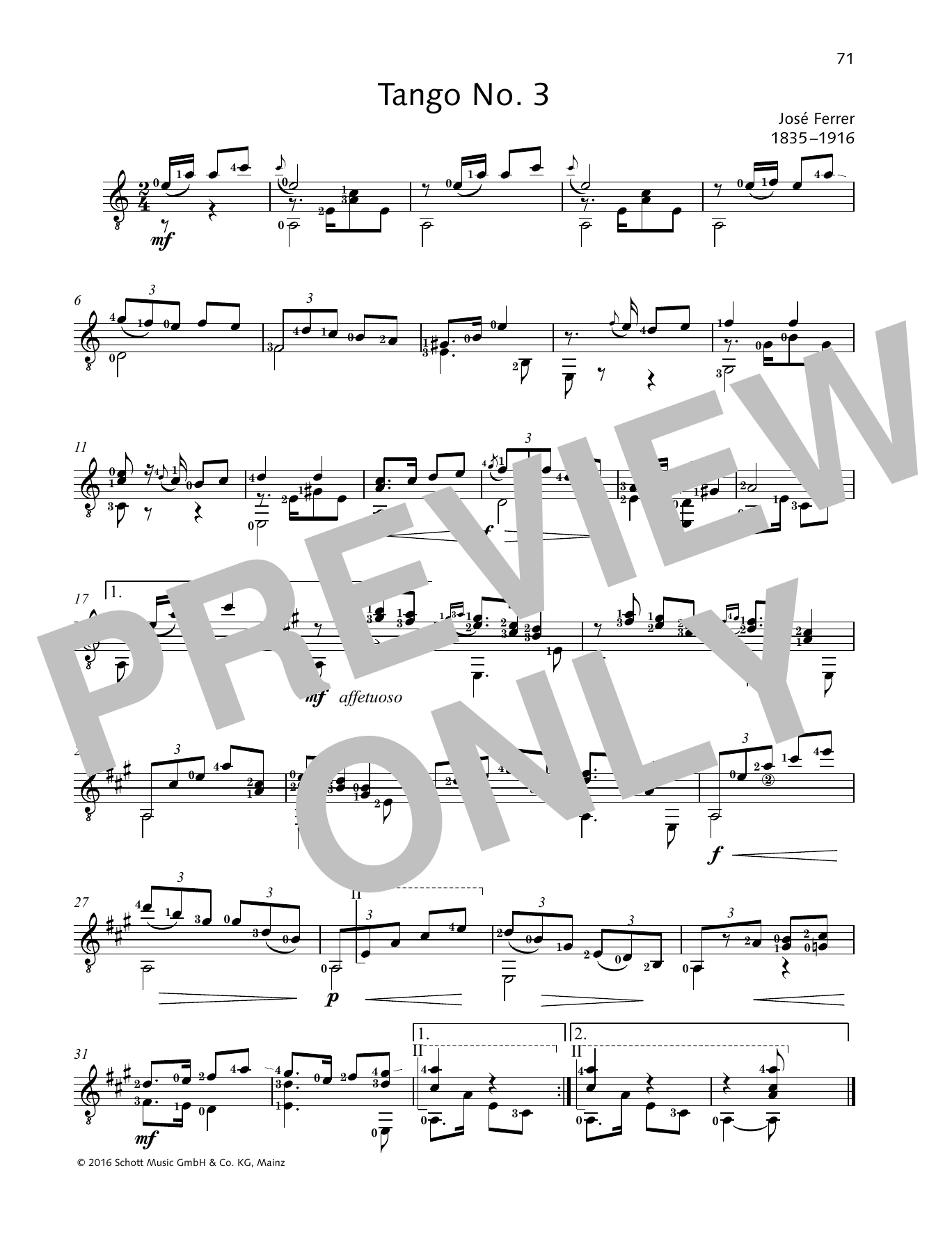 Jose Ferrer Tango No. 3 sheet music preview music notes and score for Solo Guitar Tab including 1 page(s)