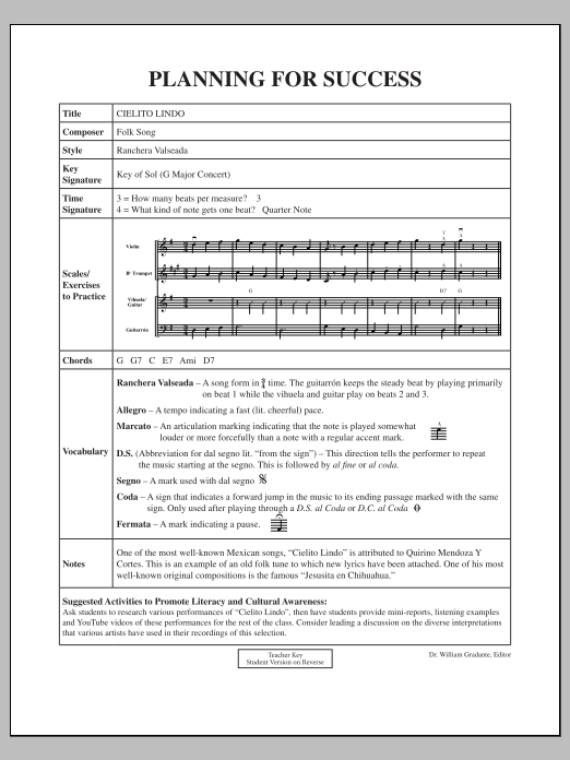 Jose Hernandez Cielito Lindo - Planning for Success sheet music notes and chords