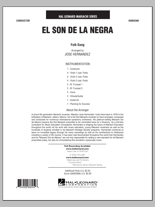 Jose Hernandez El Son de la Negra - Full Score sheet music notes and chords