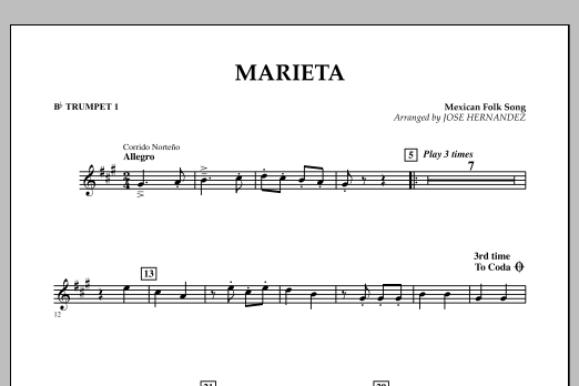 Jose Hernandez Marieta - Bb Trumpet 1 sheet music notes and chords