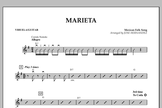 Jose Hernandez Marieta - Vihuela/Guitar sheet music notes and chords